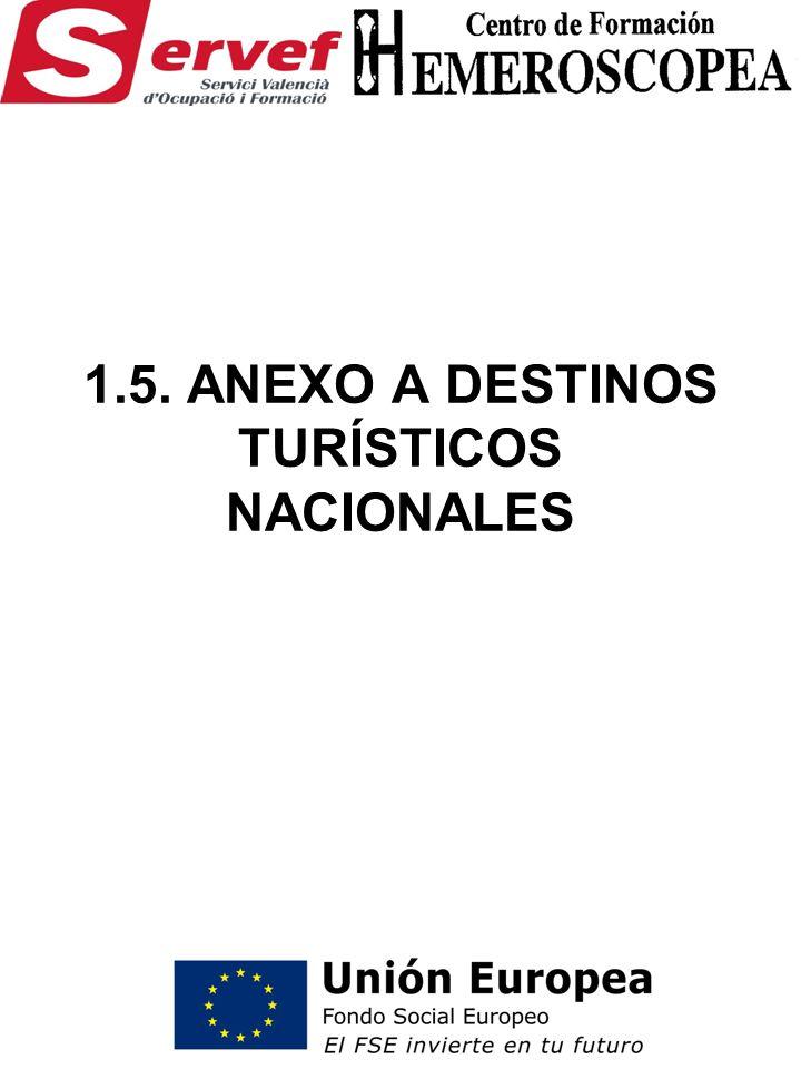 1.5. ANEXO A DESTINOS TURÍSTICOS NACIONALES