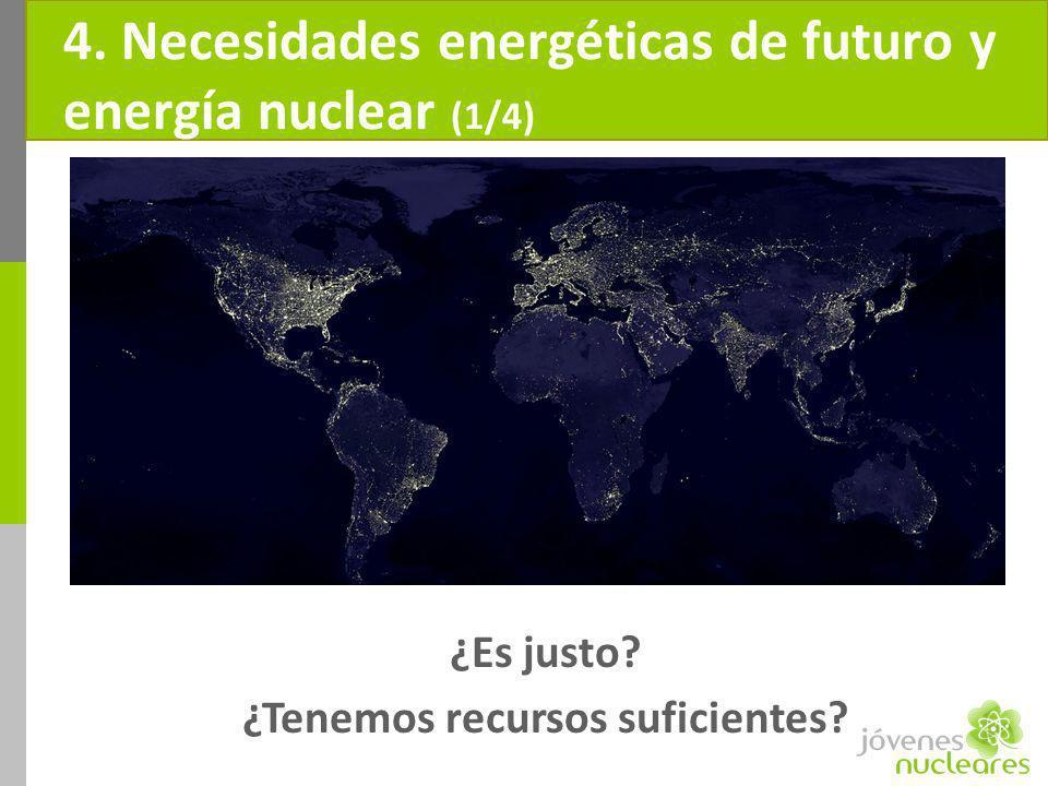 4. Necesidades energéticas de futuro y energía nuclear (1/4) ¿Es justo? ¿Tenemos recursos suficientes?