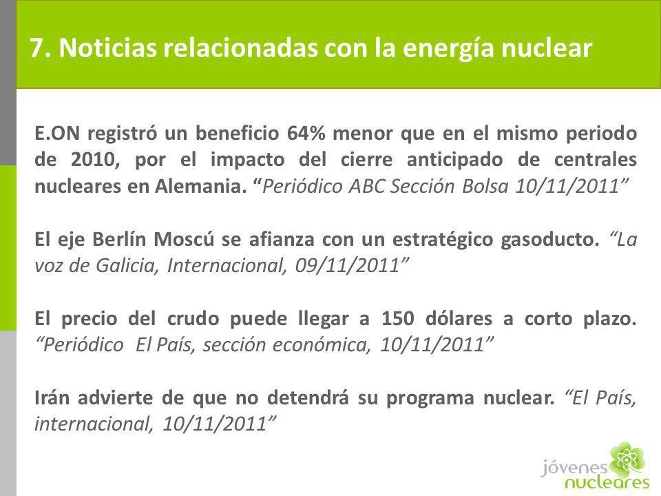 7. Noticias relacionadas con la energía nuclear E.ON registró un beneficio 64% menor que en el mismo periodo de 2010, por el impacto del cierre antici