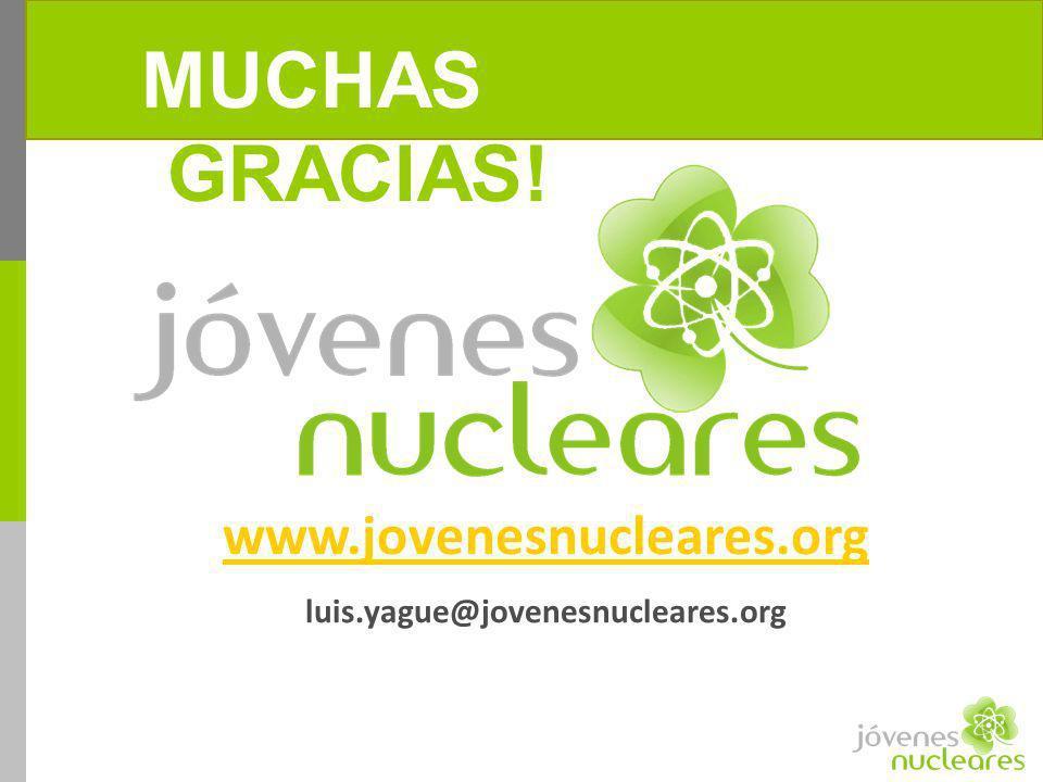 ¡MUCHAS GRACIAS! www.jovenesnucleares.org luis.yague@jovenesnucleares.org