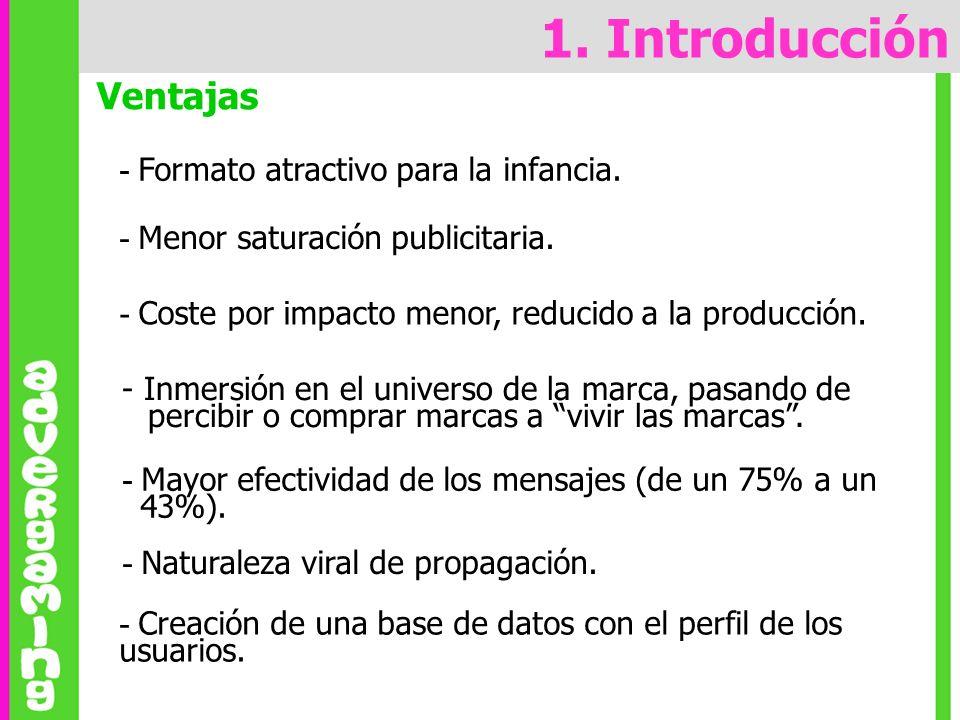 Ventajas 1. Introducción - Creación de una base de datos con el perfil de los usuarios. - Formato atractivo para la infancia. - Menor saturación publi