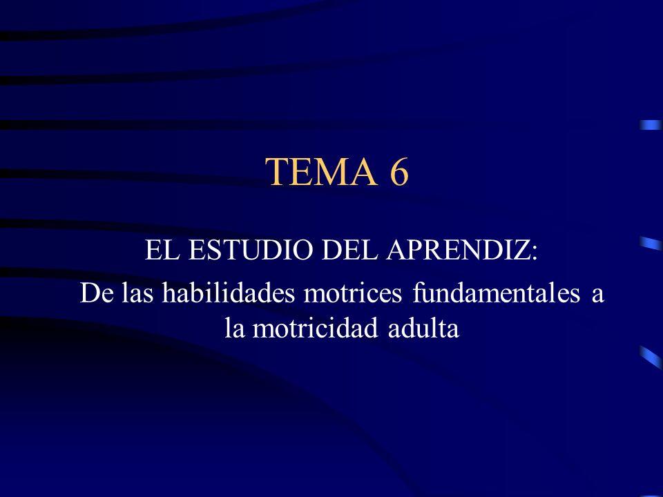 TEMA 6 EL ESTUDIO DEL APRENDIZ: De las habilidades motrices fundamentales a la motricidad adulta