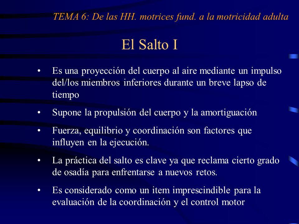 El Salto I Es una proyección del cuerpo al aire mediante un impulso del/los miembros inferiores durante un breve lapso de tiempo Supone la propulsión