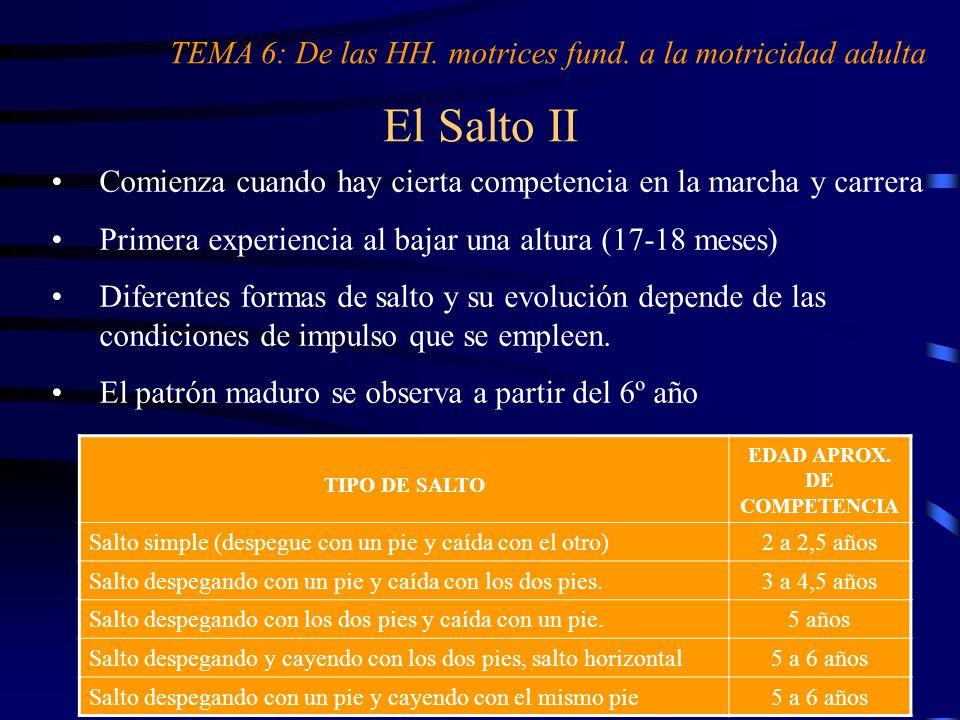 El Salto II Comienza cuando hay cierta competencia en la marcha y carrera Primera experiencia al bajar una altura (17-18 meses) Diferentes formas de s