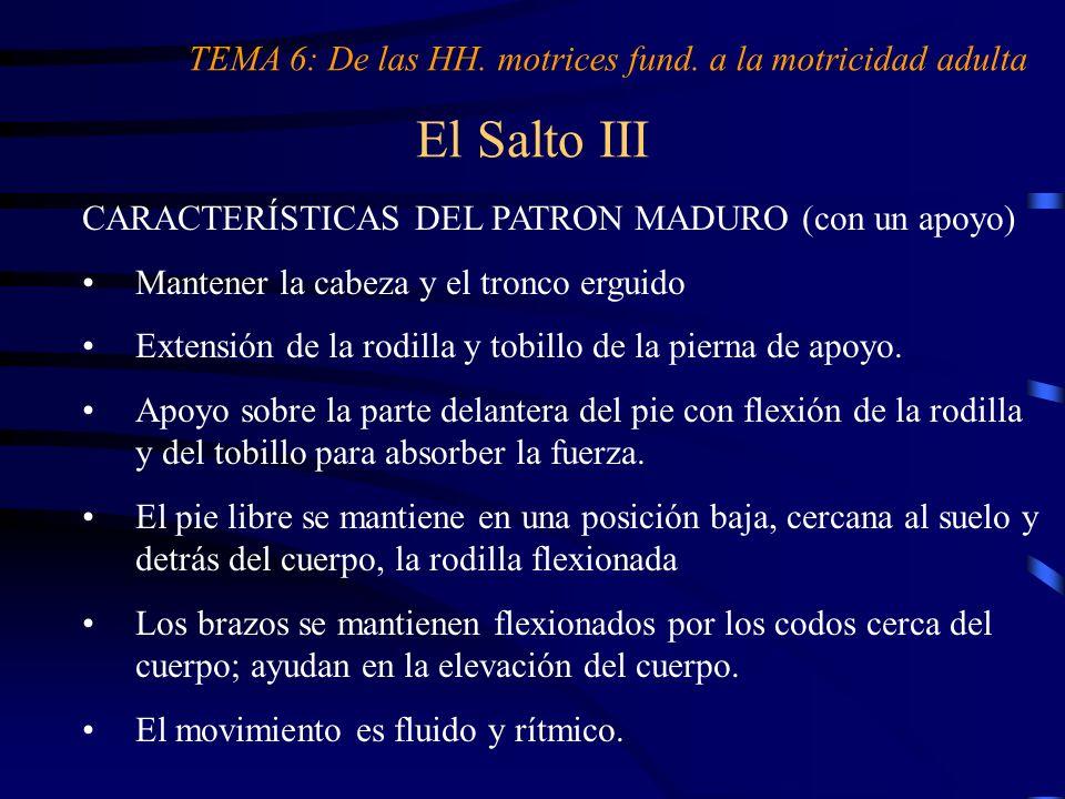 El Salto III CARACTERÍSTICAS DEL PATRON MADURO (con un apoyo) Mantener la cabeza y el tronco erguido Extensión de la rodilla y tobillo de la pierna de