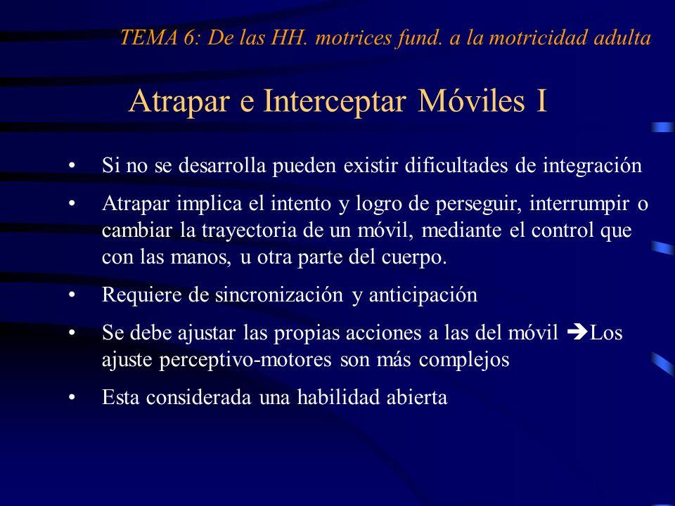 Atrapar e Interceptar Móviles I TEMA 6: De las HH. motrices fund. a la motricidad adulta Si no se desarrolla pueden existir dificultades de integració