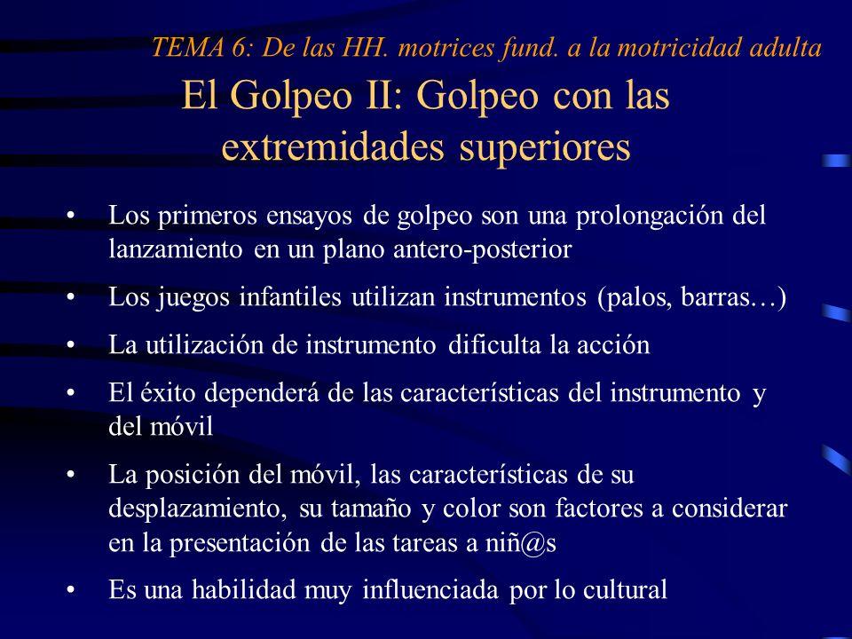 El Golpeo II: Golpeo con las extremidades superiores TEMA 6: De las HH. motrices fund. a la motricidad adulta Los primeros ensayos de golpeo son una p