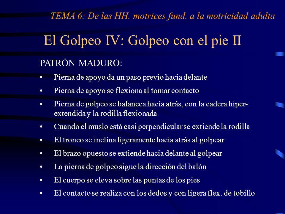 El Golpeo IV: Golpeo con el pie II TEMA 6: De las HH. motrices fund. a la motricidad adulta PATRÓN MADURO: Pierna de apoyo da un paso previo hacia del