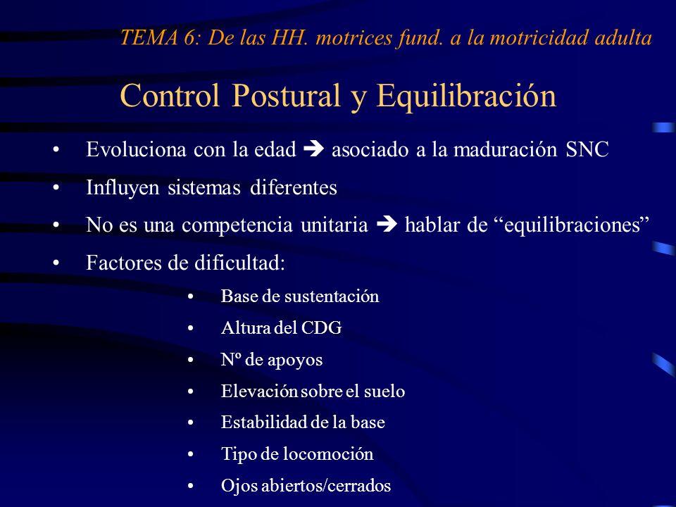 Control Postural y Equilibración TEMA 6: De las HH. motrices fund. a la motricidad adulta Evoluciona con la edad asociado a la maduración SNC Influyen