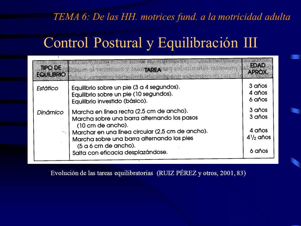 Control Postural y Equilibración III TEMA 6: De las HH. motrices fund. a la motricidad adulta Evolución de las tareas equilibratorias (RUIZ PÉREZ y ot