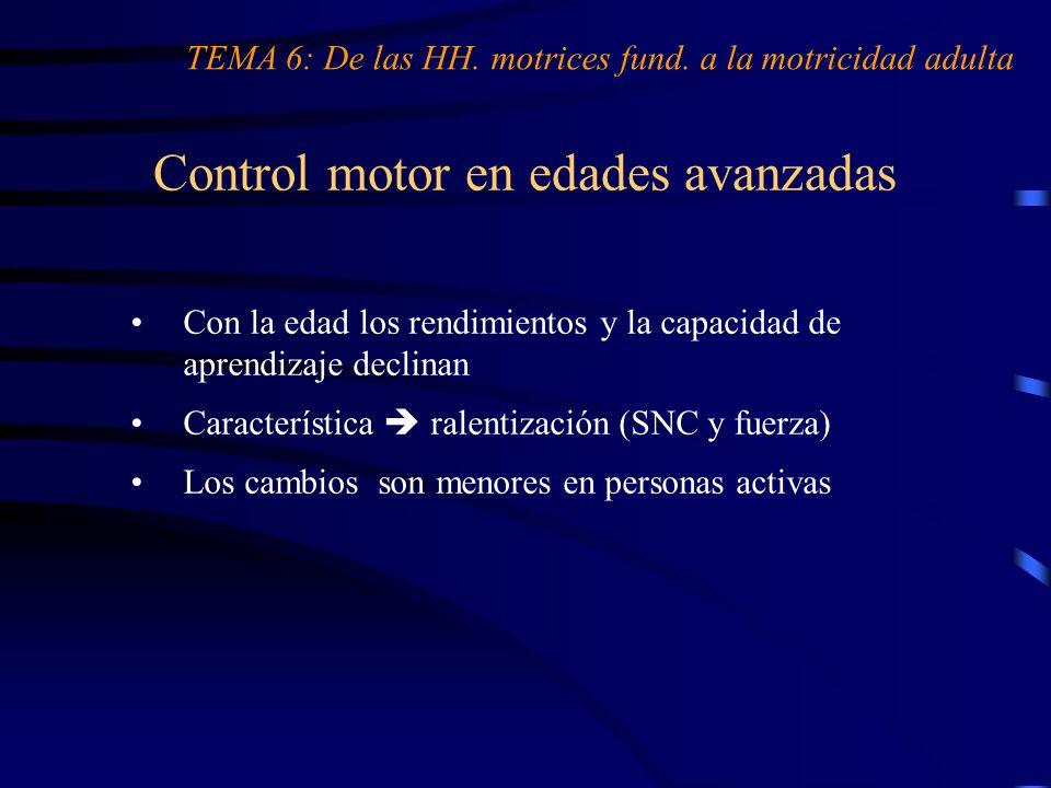 Control motor en edades avanzadas TEMA 6: De las HH. motrices fund. a la motricidad adulta Con la edad los rendimientos y la capacidad de aprendizaje