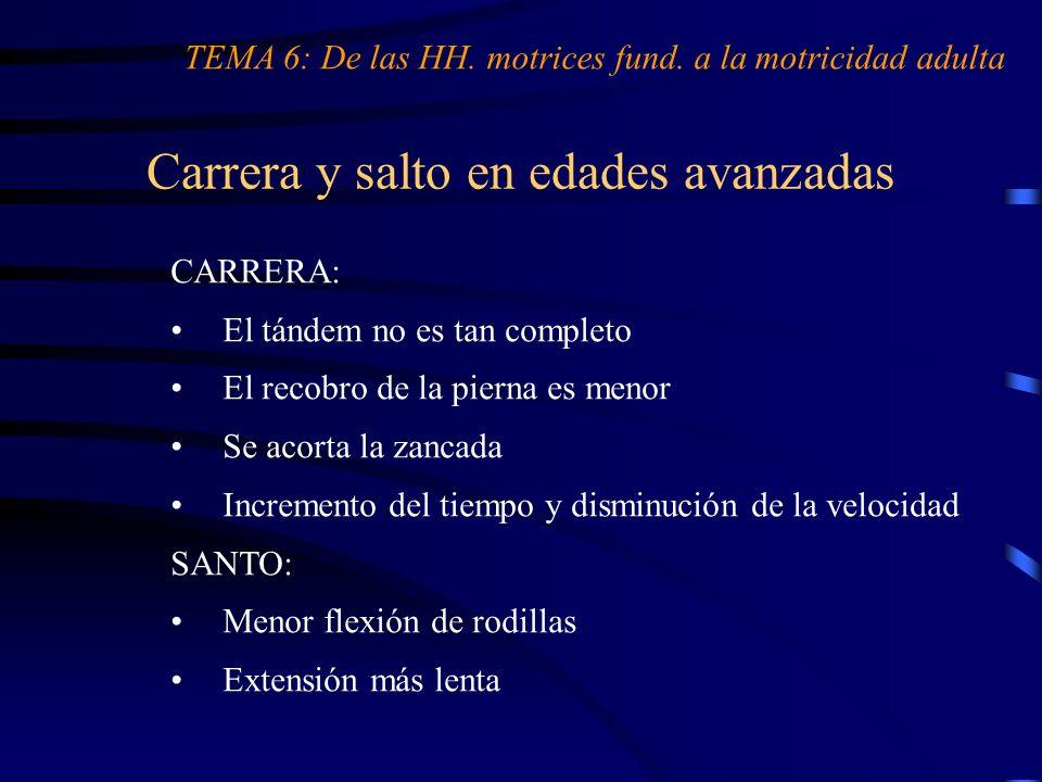 Carrera y salto en edades avanzadas TEMA 6: De las HH. motrices fund. a la motricidad adulta CARRERA: El tándem no es tan completo El recobro de la pi