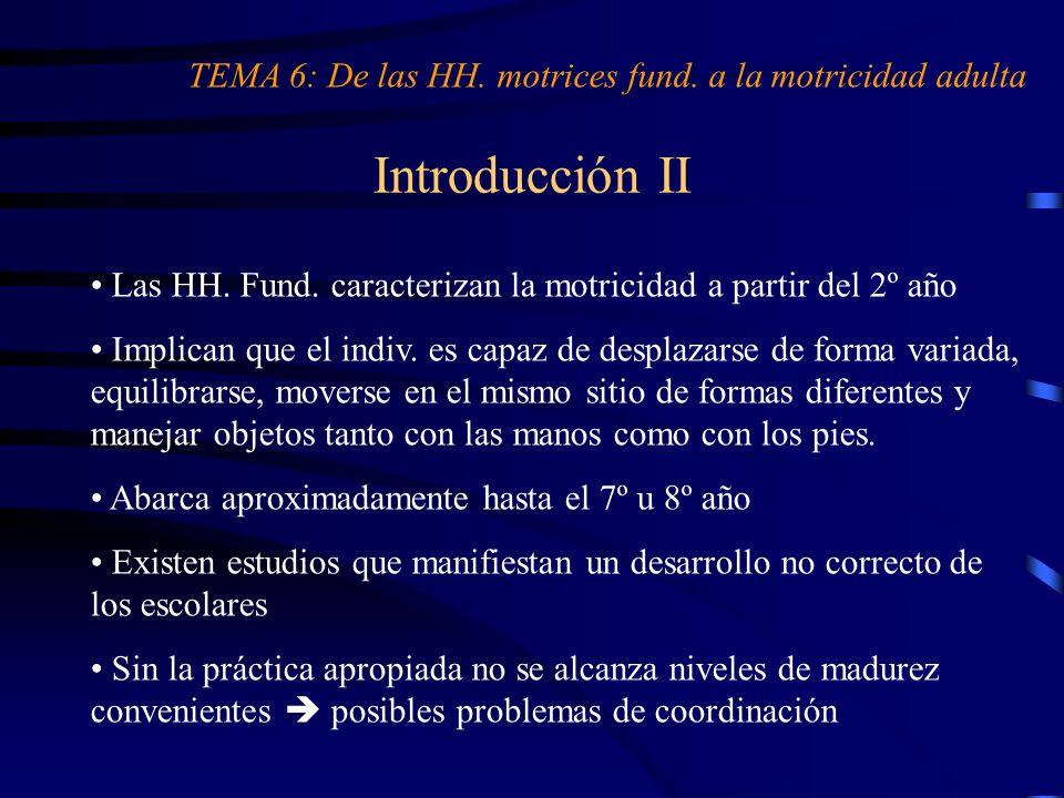 Introducción II Las HH. Fund. caracterizan la motricidad a partir del 2º año Implican que el indiv. es capaz de desplazarse de forma variada, equilibr