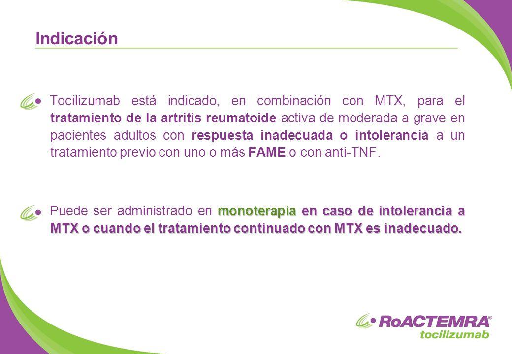Tocilizumab está indicado, en combinación con MTX, para el tratamiento de la artritis reumatoide activa de moderada a grave en pacientes adultos con r