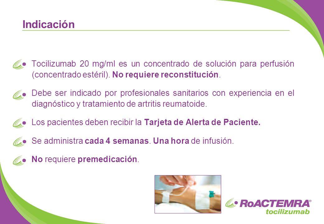 Tocilizumab 20 mg/ml es un concentrado de solución para perfusión (concentrado estéril). No requiere reconstitución. Debe ser indicado por profesional