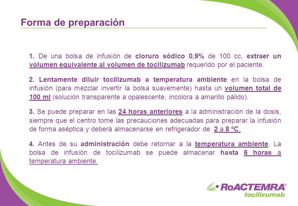 1. De una bolsa de infusión de cloruro sódico 0,9% de 100 cc, extraer un volumen equivalente al volumen de tocilizumab requerido por el paciente. 2. L