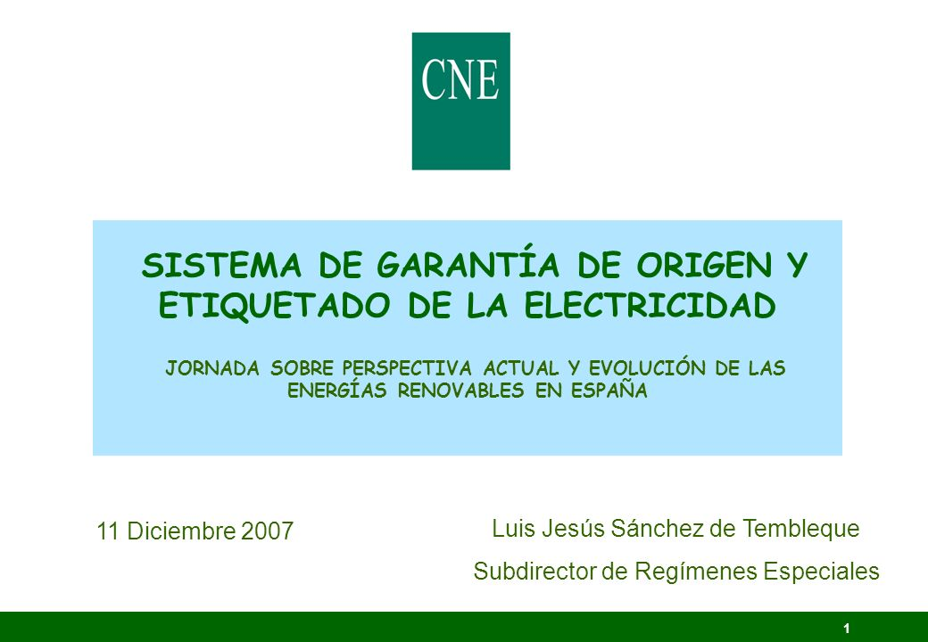 1 SISTEMA DE GARANTÍA DE ORIGEN Y ETIQUETADO DE LA ELECTRICIDAD JORNADA SOBRE PERSPECTIVA ACTUAL Y EVOLUCIÓN DE LAS ENERGÍAS RENOVABLES EN ESPAÑA 11 D