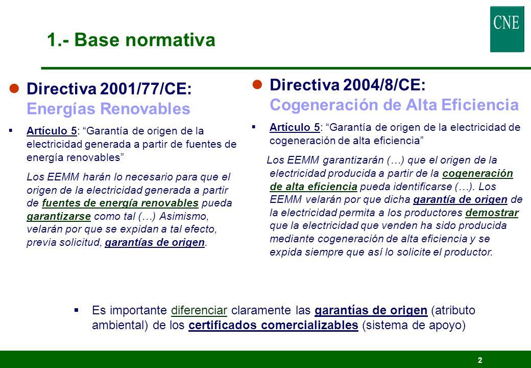 2 lDirectiva 2001/77/CE: Energías Renovables Artículo 5: Garantía de origen de la electricidad generada a partir de fuentes de energía renovables Los
