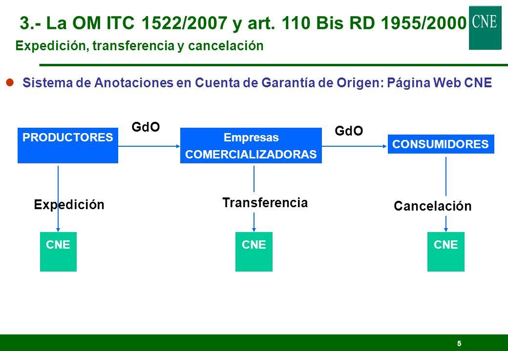 5 PRODUCTORESEmpresas COMERCIALIZADORAS CNE GdO CNE GdO CONSUMIDORES Cancelación CNE Transferencia lSistema de Anotaciones en Cuenta de Garantía de Or