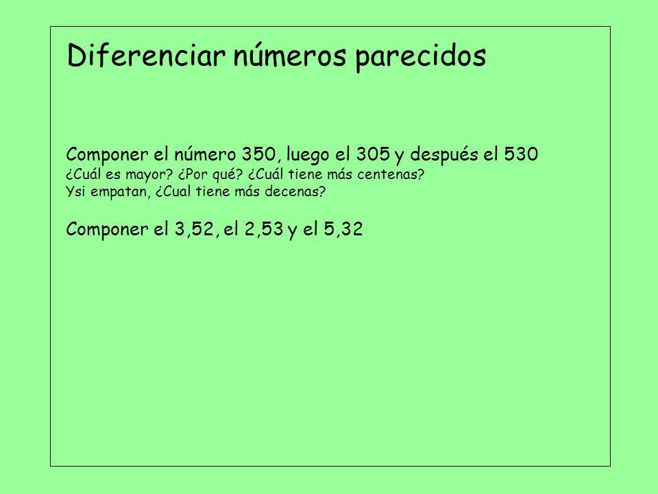 Diferenciar números parecidos Componer el número 350, luego el 305 y después el 530 ¿Cuál es mayor? ¿Por qué? ¿Cuál tiene más centenas? Ysi empatan, ¿