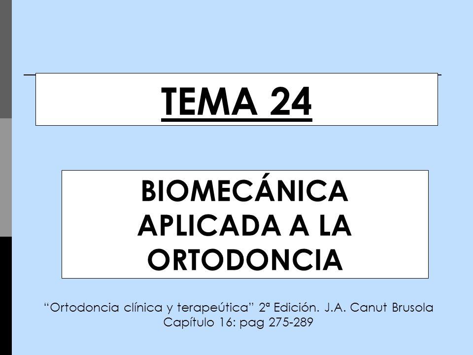 TEMA 24 BIOMECÁNICA APLICADA A LA ORTODONCIA Ortodoncia clínica y terapeútica 2ª Edición. J.A. Canut Brusola Capítulo 16: pag 275-289