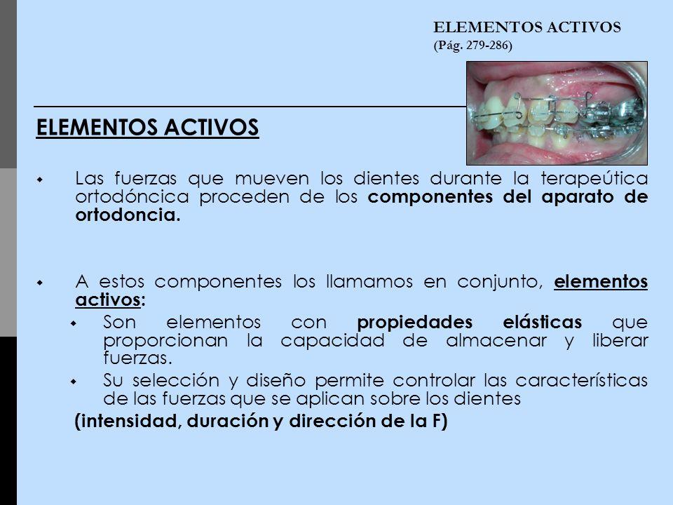 ELEMENTOS ACTIVOS (Pág. 279-286) ELEMENTOS ACTIVOS Las fuerzas que mueven los dientes durante la terapeútica ortodóncica proceden de los componentes d