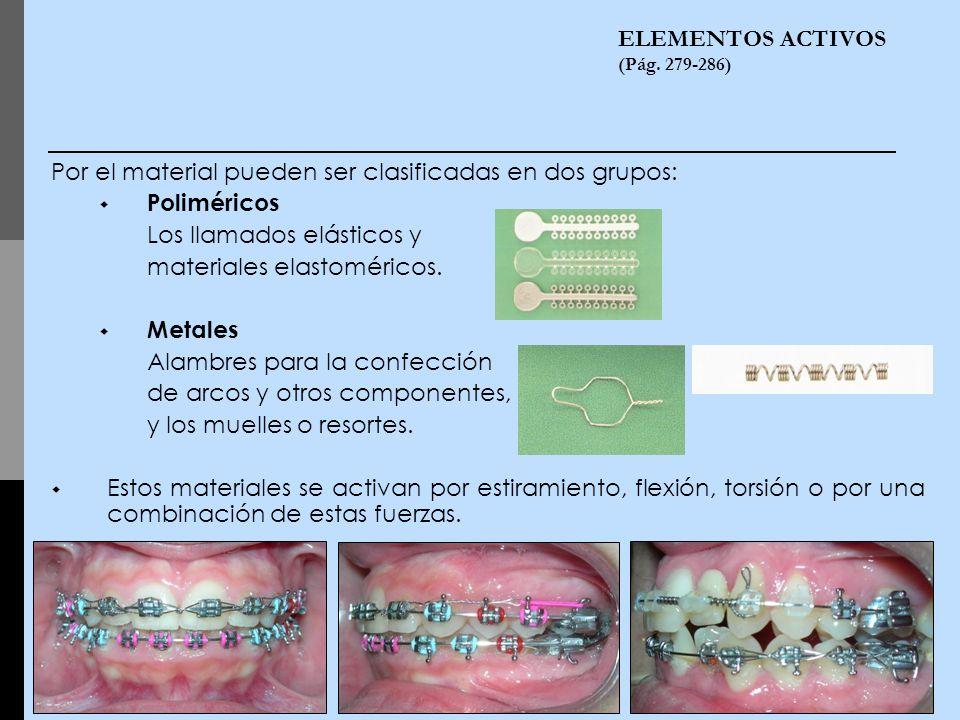 ELEMENTOS ACTIVOS (Pág. 279-286) Por el material pueden ser clasificadas en dos grupos: Poliméricos Los llamados elásticos y materiales elastoméricos.