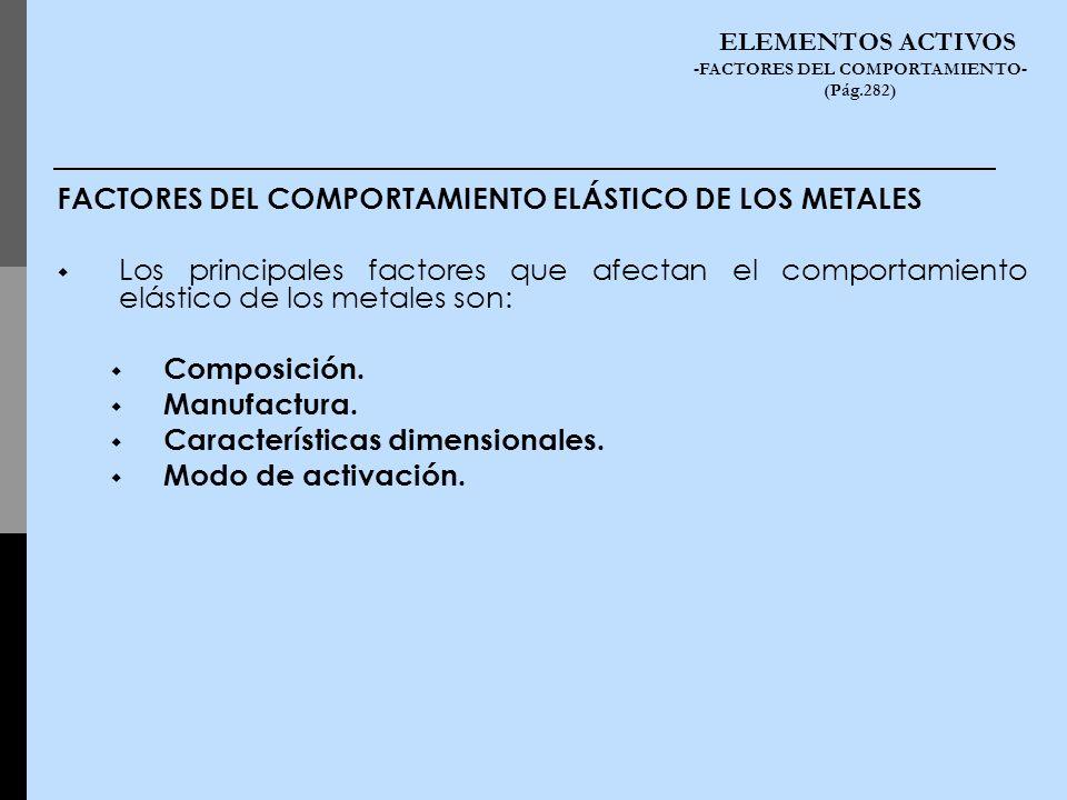 FACTORES DEL COMPORTAMIENTO ELÁSTICO DE LOS METALES Los principales factores que afectan el comportamiento elástico de los metales son: Composición. M