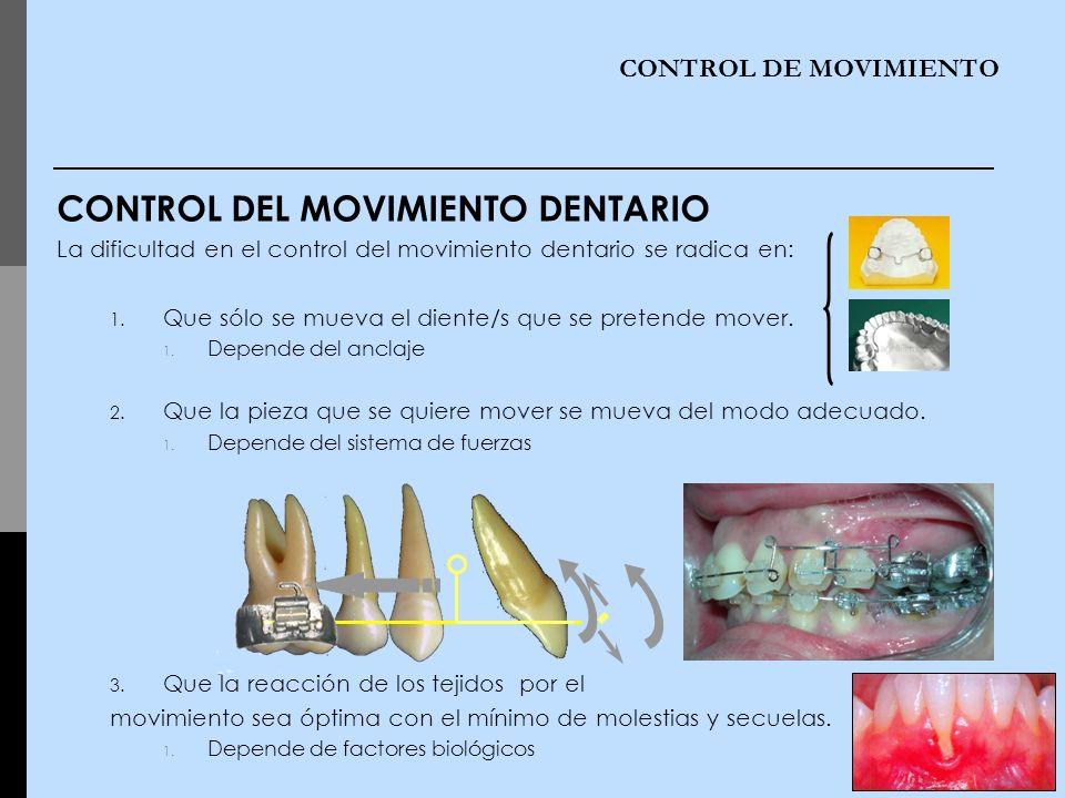 CONTROL DE MOVIMIENTO CONTROL DEL MOVIMIENTO DENTARIO La dificultad en el control del movimiento dentario se radica en: 1. Que sólo se mueva el diente