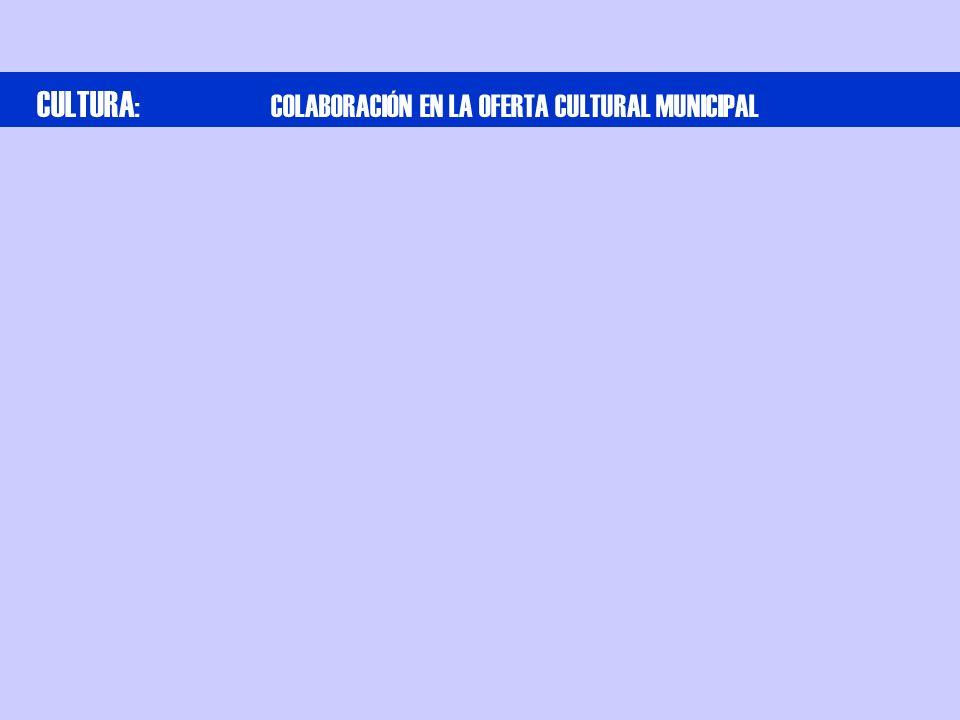 CULTURA : COLABORACIÓN EN LA OFERTA CULTURAL MUNICIPAL