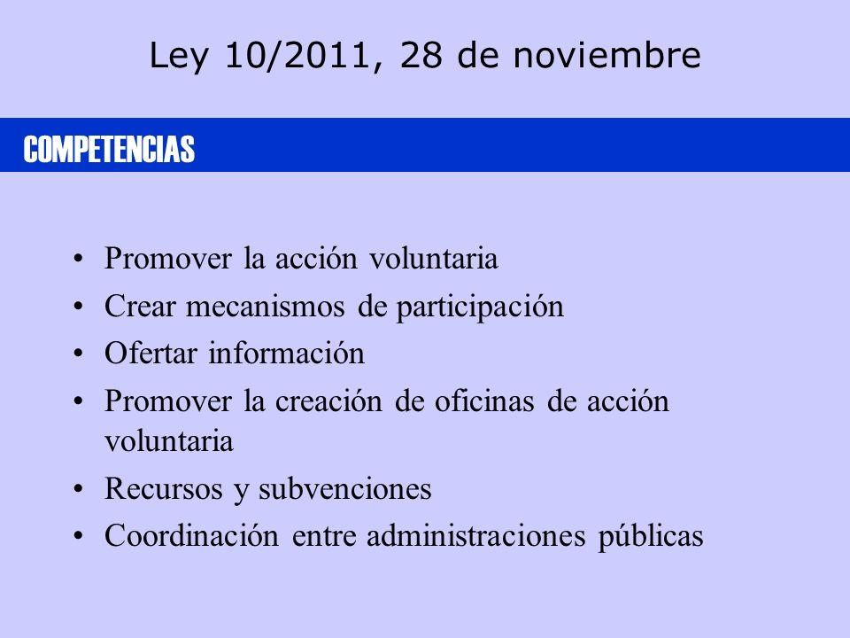 Ley 10/2011, 28 de noviembre Promover la acción voluntaria Crear mecanismos de participación Ofertar información Promover la creación de oficinas de acción voluntaria Recursos y subvenciones Coordinación entre administraciones públicas COMPETENCIAS