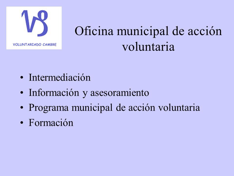 Oficina municipal de acción voluntaria Intermediación Información y asesoramiento Programa municipal de acción voluntaria Formación