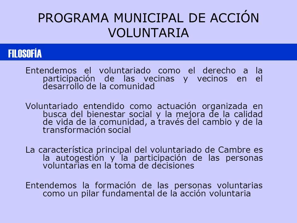 PROGRAMA MUNICIPAL DE ACCIÓN VOLUNTARIA Entendemos el voluntariado como el derecho a la participación de las vecinas y vecinos en el desarrollo de la comunidad Voluntariado entendido como actuación organizada en busca del bienestar social y la mejora de la calidad de vida de la comunidad, a través del cambio y de la transformación social La característica principal del voluntariado de Cambre es la autogestión y la participación de las personas voluntarias en la toma de decisiones Entendemos la formación de las personas voluntarias como un pilar fundamental de la acción voluntaria FILOSOFÍA
