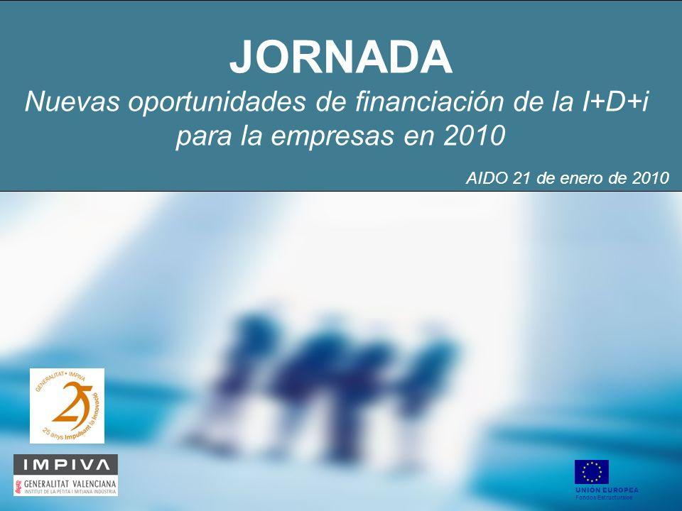 JORNADA Nuevas oportunidades de financiación de la I+D+i para la empresas en 2010 UNIÓN EUROPEA Fondos Estructurales AIDO 21 de enero de 2010