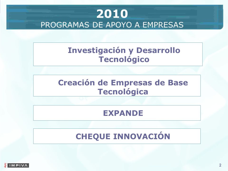 2 2 CHEQUE INNOVACIÓN EXPANDE Creación de Empresas de Base Tecnológica Investigación y Desarrollo Tecnológico 2010 PROGRAMAS DE APOYO A EMPRESAS