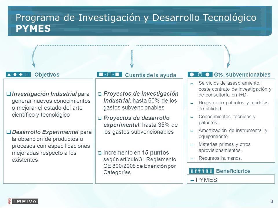 3 Proyectos de investigación industrial: hasta 60% de los gastos subvencionables Proyectos de desarrollo experimental: hasta 35% de los gastos subvencionables Incremento en 15 puntos según artículo 31 Reglamento CE 800/2008 de Exención por Categorías.