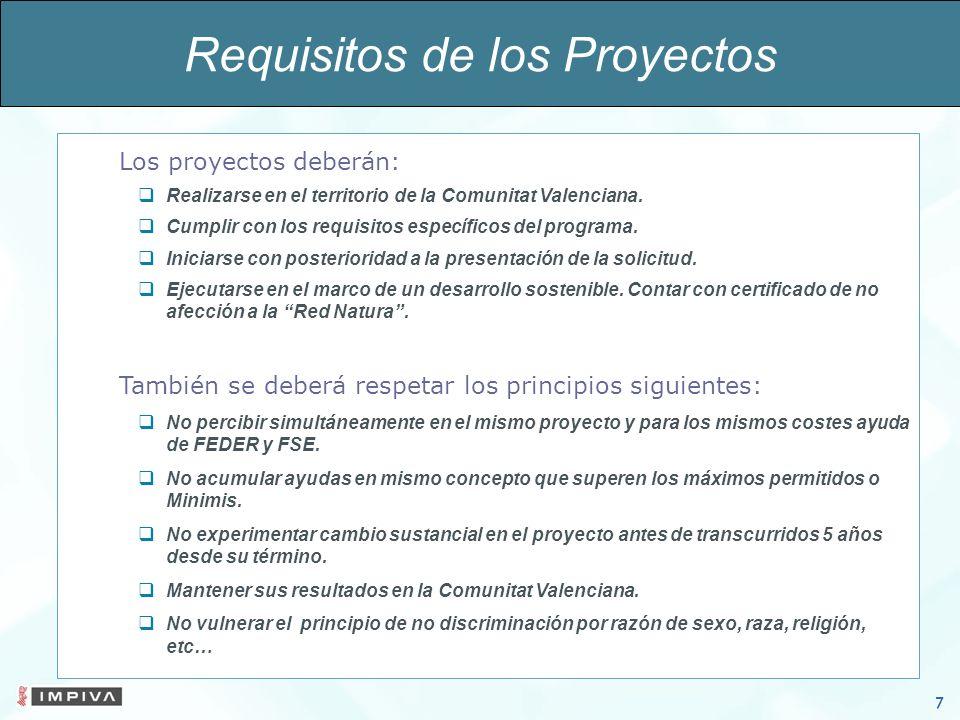 7 Los proyectos deberán: Realizarse en el territorio de la Comunitat Valenciana.