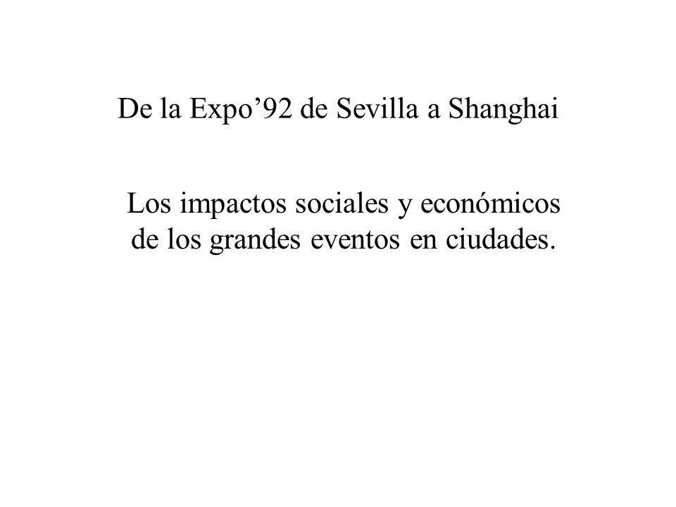 De la Expo92 de Sevilla a Shanghai Los impactos sociales y económicos de los grandes eventos en ciudades.
