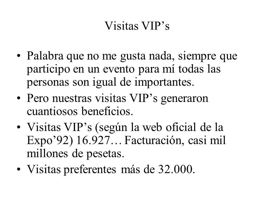 Visitas VIPs Palabra que no me gusta nada, siempre que participo en un evento para mí todas las personas son igual de importantes. Pero nuestras visit