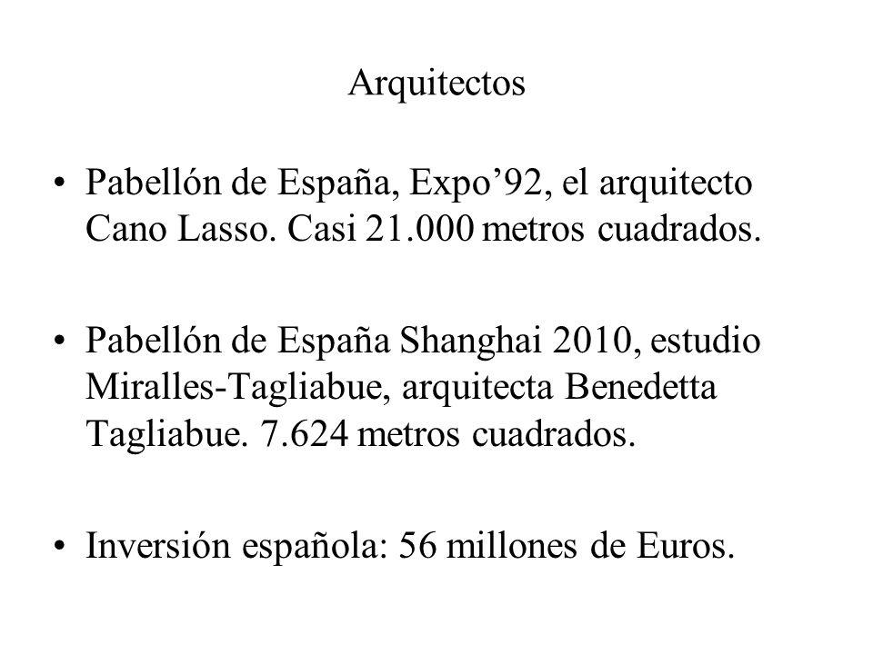 Arquitectos Pabellón de España, Expo92, el arquitecto Cano Lasso. Casi 21.000 metros cuadrados. Pabellón de España Shanghai 2010, estudio Miralles-Tag