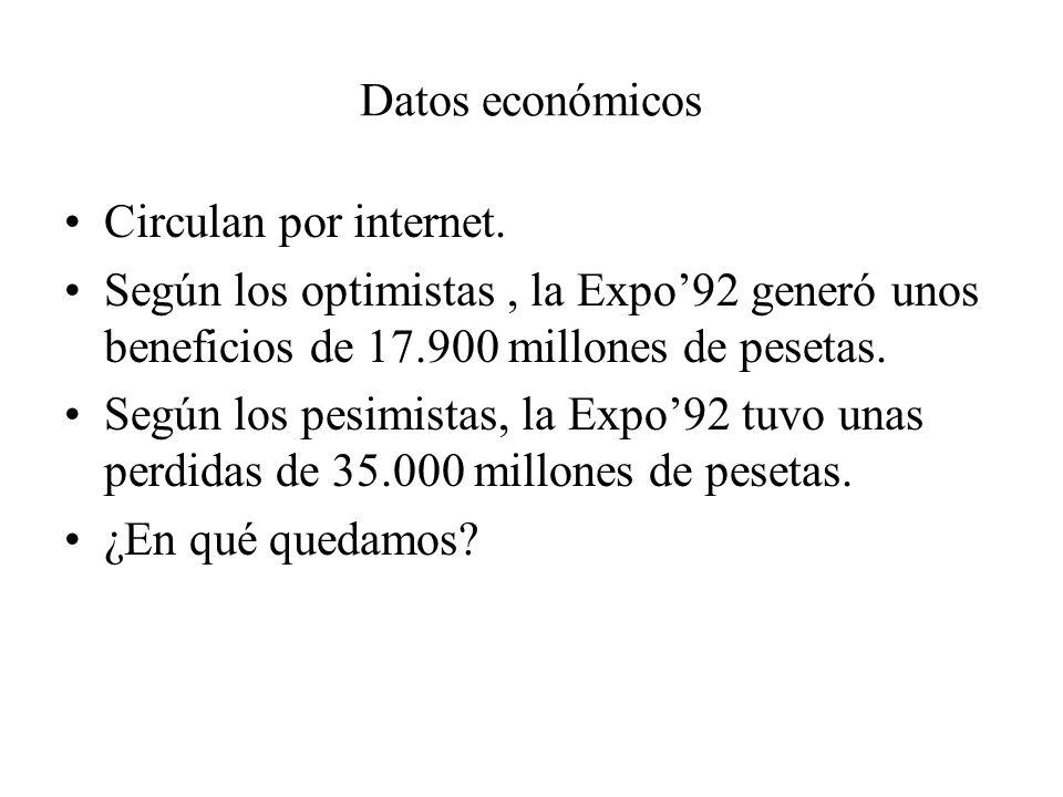 Datos económicos Circulan por internet. Según los optimistas, la Expo92 generó unos beneficios de 17.900 millones de pesetas. Según los pesimistas, la