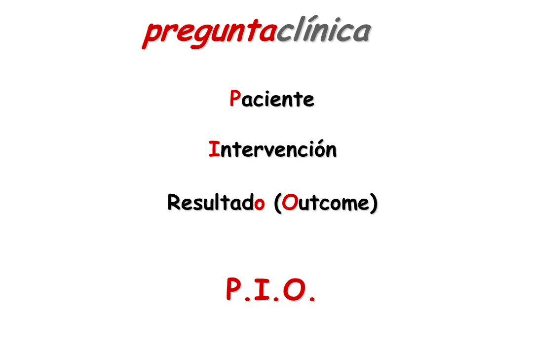Paciente Intervención Resultado (Outcome) P.I.O. preguntaclínica