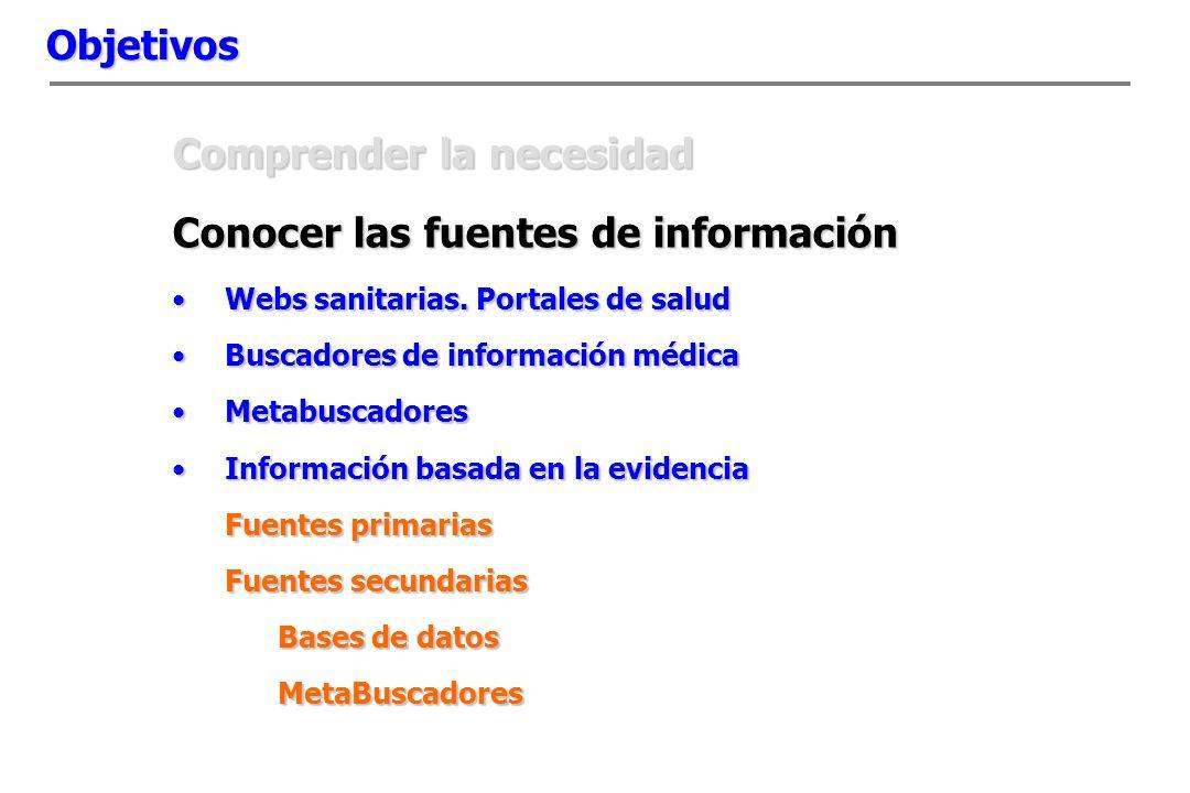 Objetivos Comprender la necesidad Conocer las fuentes de información Webs sanitarias.