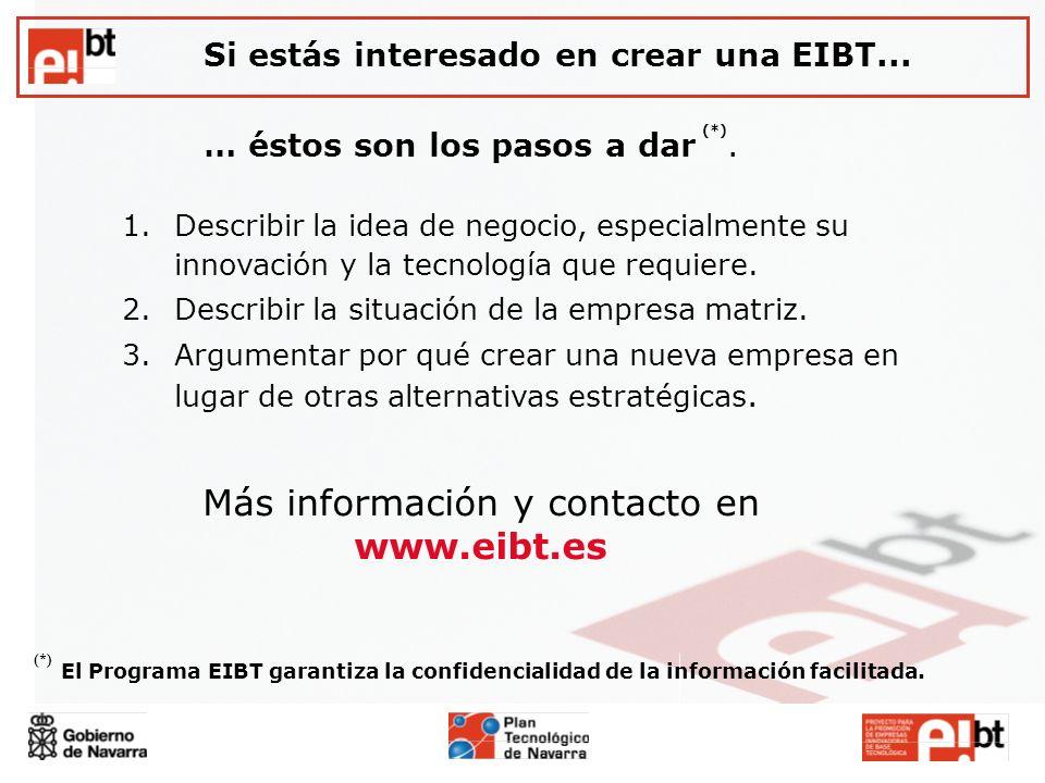 Si estás interesado en crear una EIBT... … éstos son los pasos a dar (*). Más información y contacto en www.eibt.es 1.Describir la idea de negocio, es