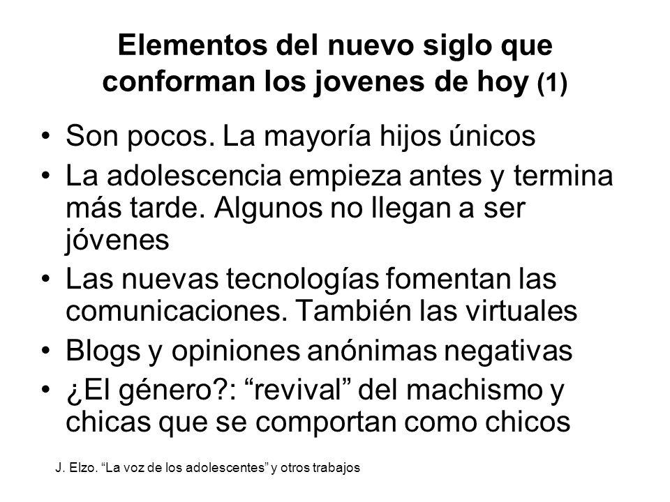 Elementos del nuevo siglo que conforman los jovenes de hoy (1) Son pocos. La mayoría hijos únicos La adolescencia empieza antes y termina más tarde. A