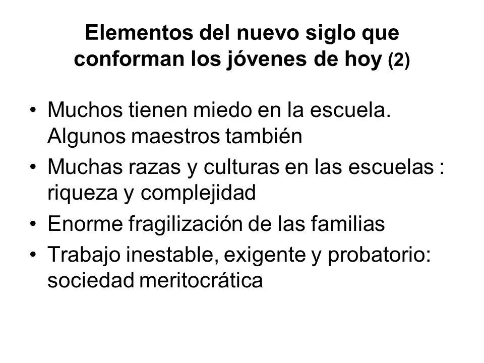 Elementos del nuevo siglo que conforman los jóvenes de hoy (2) Muchos tienen miedo en la escuela. Algunos maestros también Muchas razas y culturas en