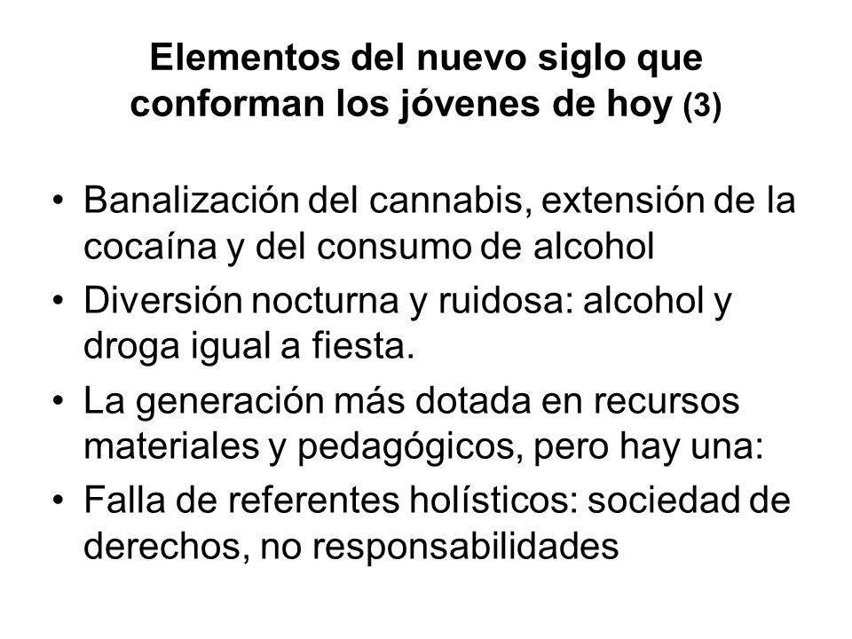 Elementos del nuevo siglo que conforman los jóvenes de hoy (3) Banalización del cannabis, extensión de la cocaína y del consumo de alcohol Diversión nocturna y ruidosa: alcohol y droga igual a fiesta.
