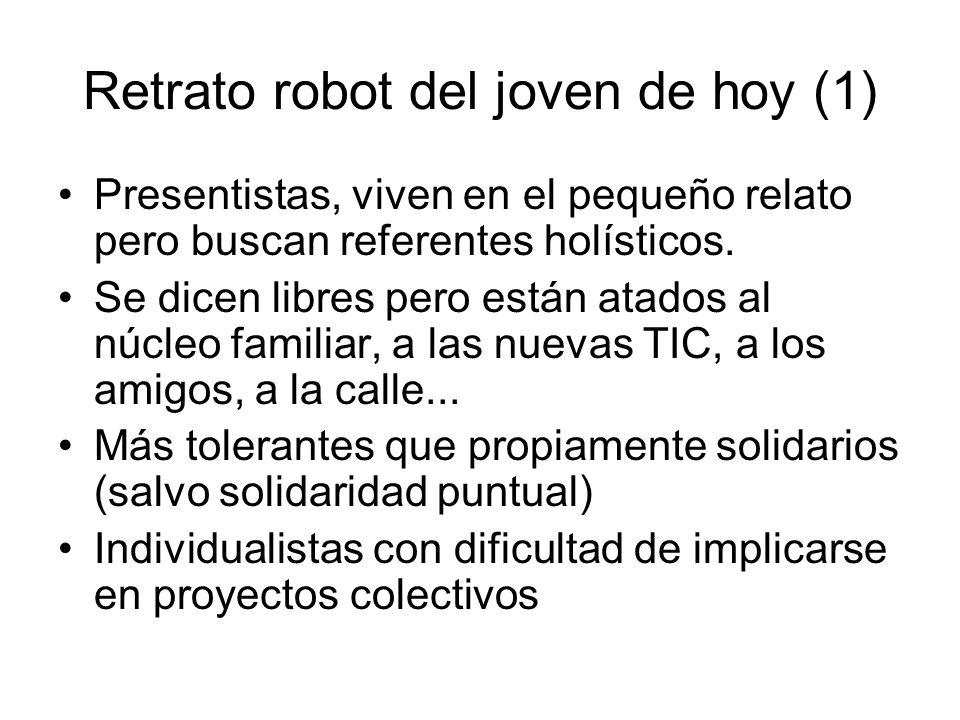 Retrato robot del joven de hoy (1) Presentistas, viven en el pequeño relato pero buscan referentes holísticos. Se dicen libres pero están atados al nú