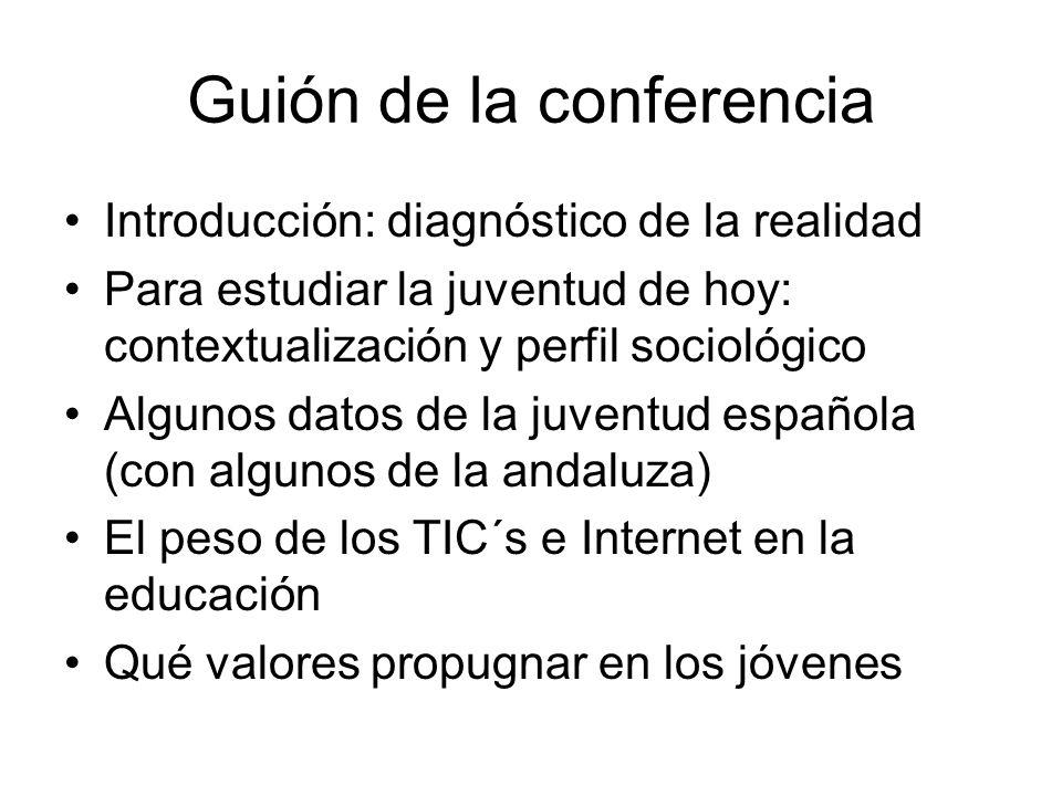 Guión de la conferencia Introducción: diagnóstico de la realidad Para estudiar la juventud de hoy: contextualización y perfil sociológico Algunos dato