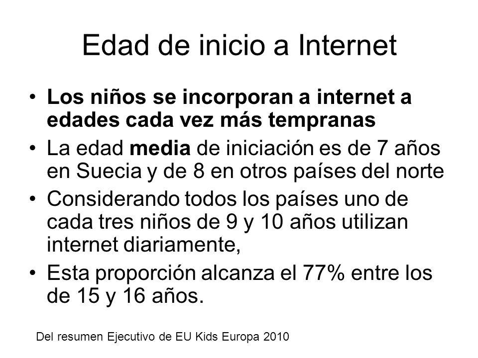 Edad de inicio a Internet Los niños se incorporan a internet a edades cada vez más tempranas La edad media de iniciación es de 7 años en Suecia y de 8 en otros países del norte Considerando todos los países uno de cada tres niños de 9 y 10 años utilizan internet diariamente, Esta proporción alcanza el 77% entre los de 15 y 16 años.